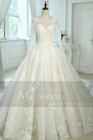 Princess Wedding Dress - Ball-Gown Scoop Neck Tulle Lace Vintage Wedding Dress With Illusion Sleeve - M383 #1