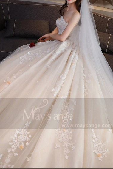 Princess Wedding Dress - Tulle Champagne Bridal Gown With Long Train - M375 #1