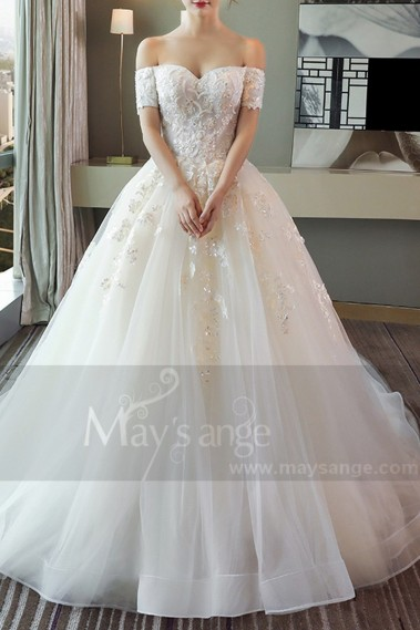 Princess Wedding Dress - Off-The-Shoulder Tulle Princess Wedding Dress With Long Train - M380 #1