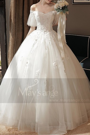 Princess Wedding Dress - Ivory Off-The-Shoulder Ball-Gown Wedding Dress Short Sleeves With Ruffles - M389 #1