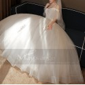 Ivory Off-The-Shoulder Ball-Gown Wedding Dress Short Sleeves With Ruffles - Ref M389 - 03