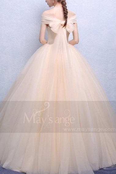 Strapless Tulle Champagne Wedding Dress With Lace Bodice - M374 #1