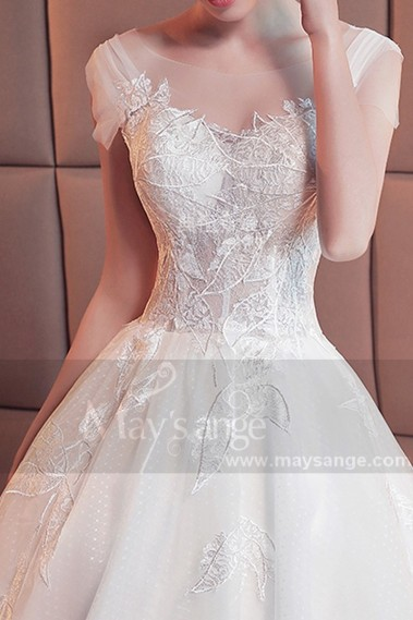 Wedding dress with train - robe mariée M385 blanc - M385 #1