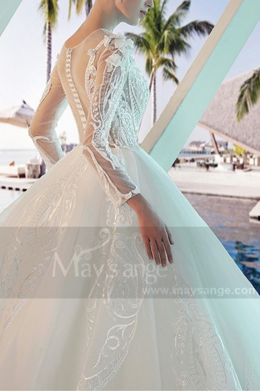 Princess Wedding Dress - Long Sleeve Tulle Princess Wedding  Dress With Illusion Bodice - M377 #1