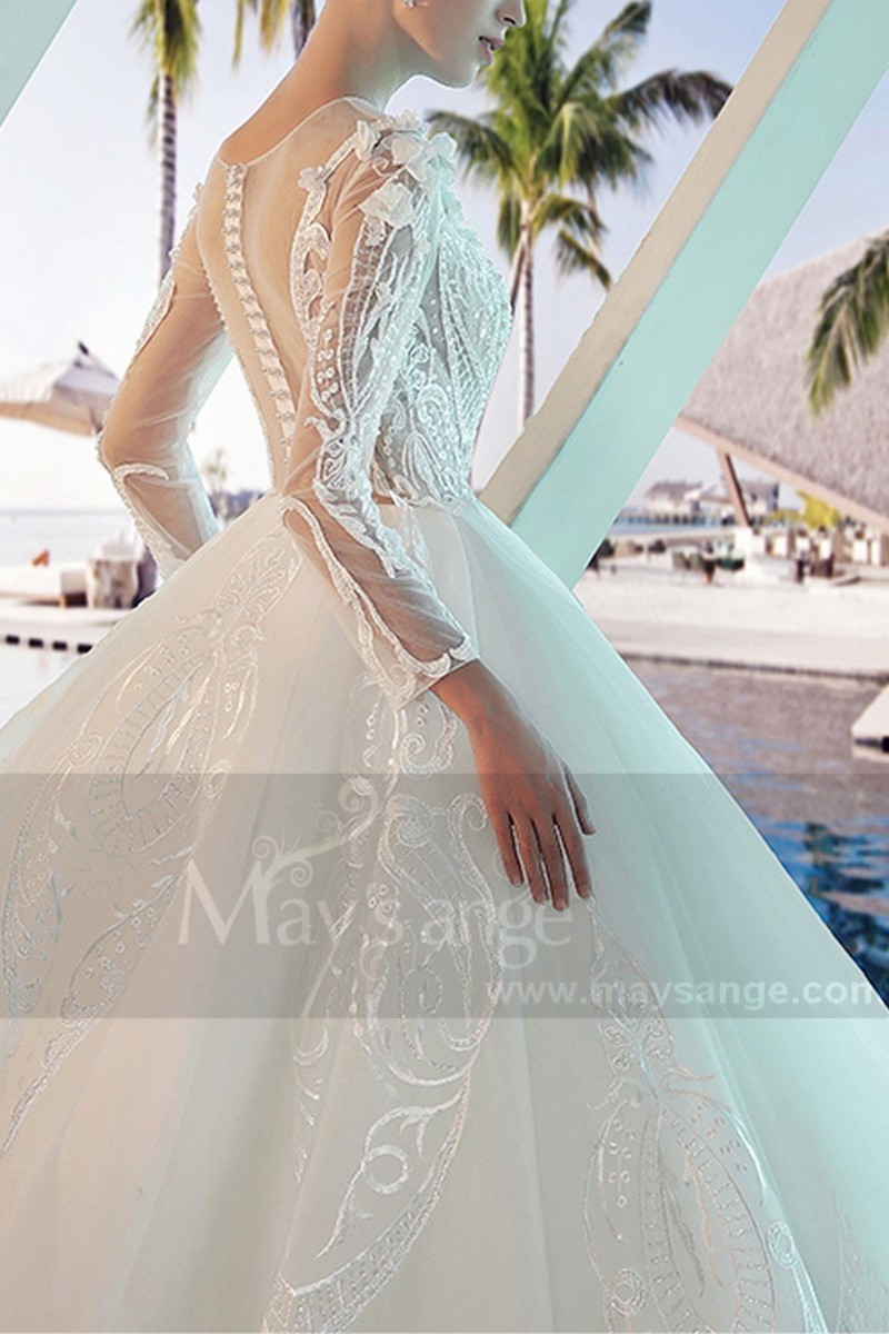 Long Sleeve Tulle Princess Wedding  Dress With Illusion Bodice - Ref M377 - 01