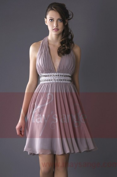 Steel Grey V-Neck Homecoming Dress With Shiny Belt - C125 #1