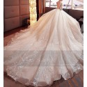 Long Sleeve Tulle Princess Wedding  Dress With Illusion Bodice - Ref M377 - 04