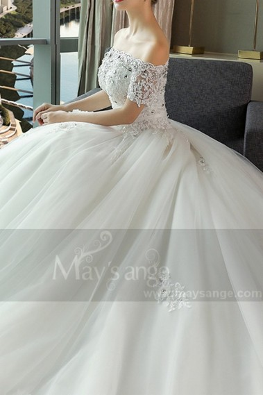Long wedding dress - Cathedral Train Off-The-Shoulder Tulle And Lace Ball-Gown Wedding Dress - M381 #1