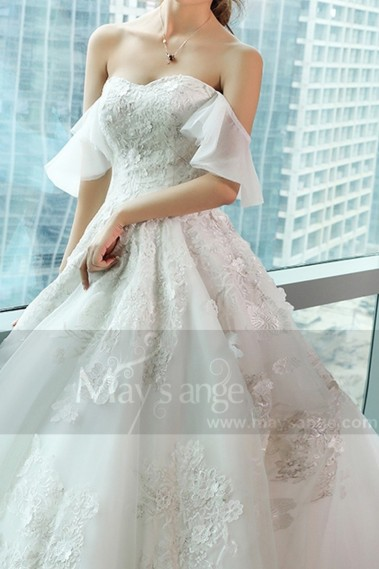 Princess Wedding Dress - Off-The-Shoulder Sweetheart Bodice Lace Princess Dress With Train - M372 #1