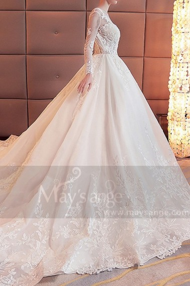 2018 wedding dress - Backless Lace Tatoo Wedding Dresses With Train - M384 #1
