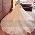 Backless Lace Tatoo Wedding Dresses With Train - Ref M384 - 04