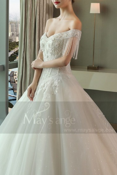 Luxurious Strapless Beaded Lace Wedding Dress With Long Train - M390 #1