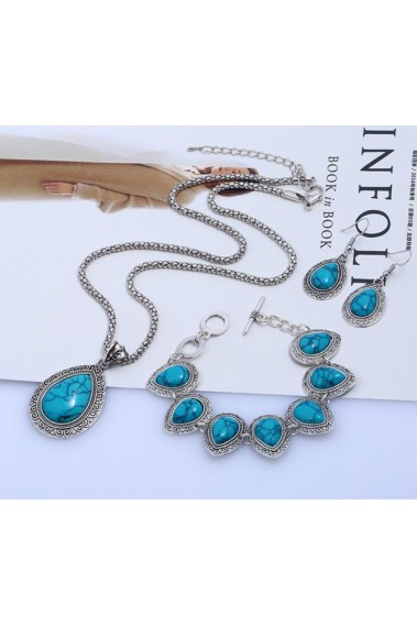 Adjustable blue lake vintage necklace - F002 #1