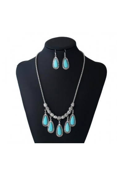 Blue stone costume jewelry necklace set - F005 #1