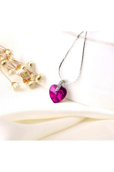 Heart pink fancy necklaces for women - F006 #1