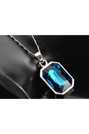 Cheap silver chain blue topaz necklace - F032 #1