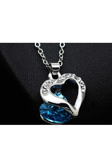 Necklaces For Women - Silver Pendant Blue Color Heart Shape - F036 #1