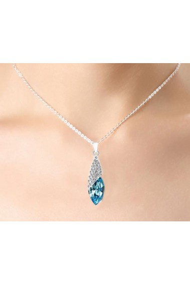 Blue crystal pendant necklace - Fashion jewelry - F037 #1