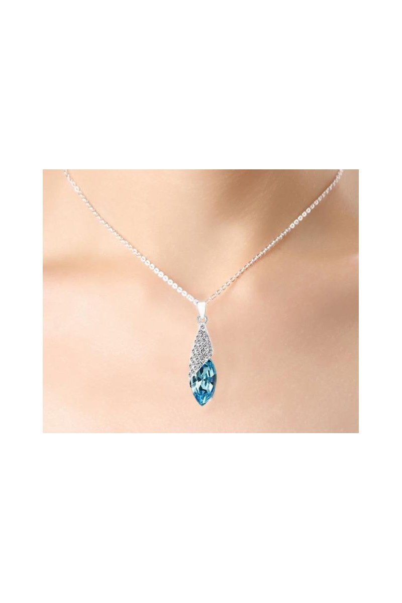 Blue crystal pendant necklace - Fashion jewelry - Ref F037 - 01