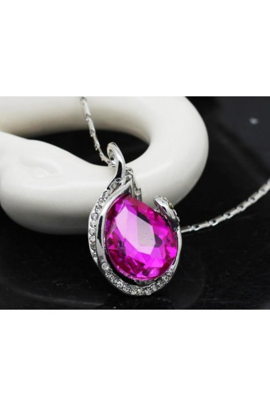 Silver necklace for women pink stone - F041 #1
