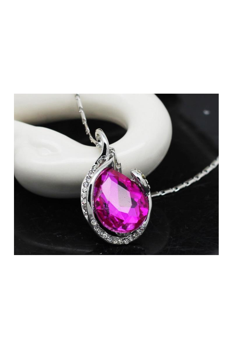 Silver necklace for women pink stone - Ref F041 - 01