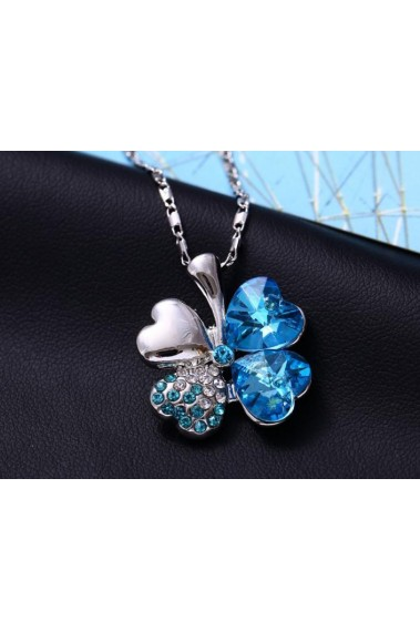 Blue crystal four leaf clover necklace - F050 #1