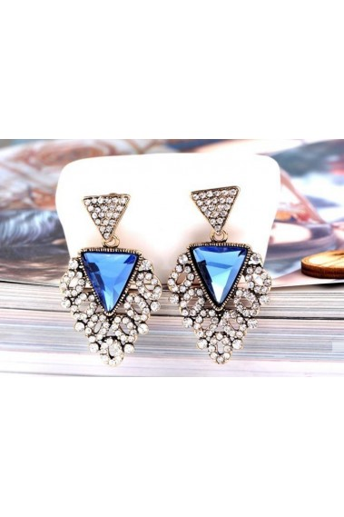 Blue triangle crystal fancy earrings - B053 #1