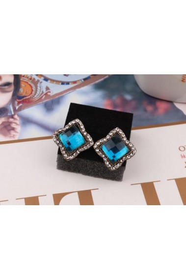 Blue lake stone diamond stud earrings - B055 #1