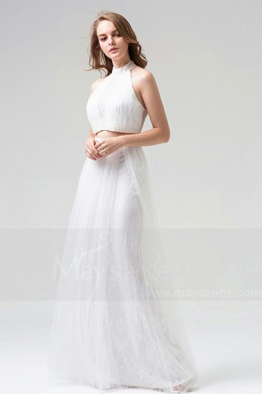 White evening dress - CUTE WHITE DRESS FOR WEDDING COCKTAIL TWO PIECES - L810 #1