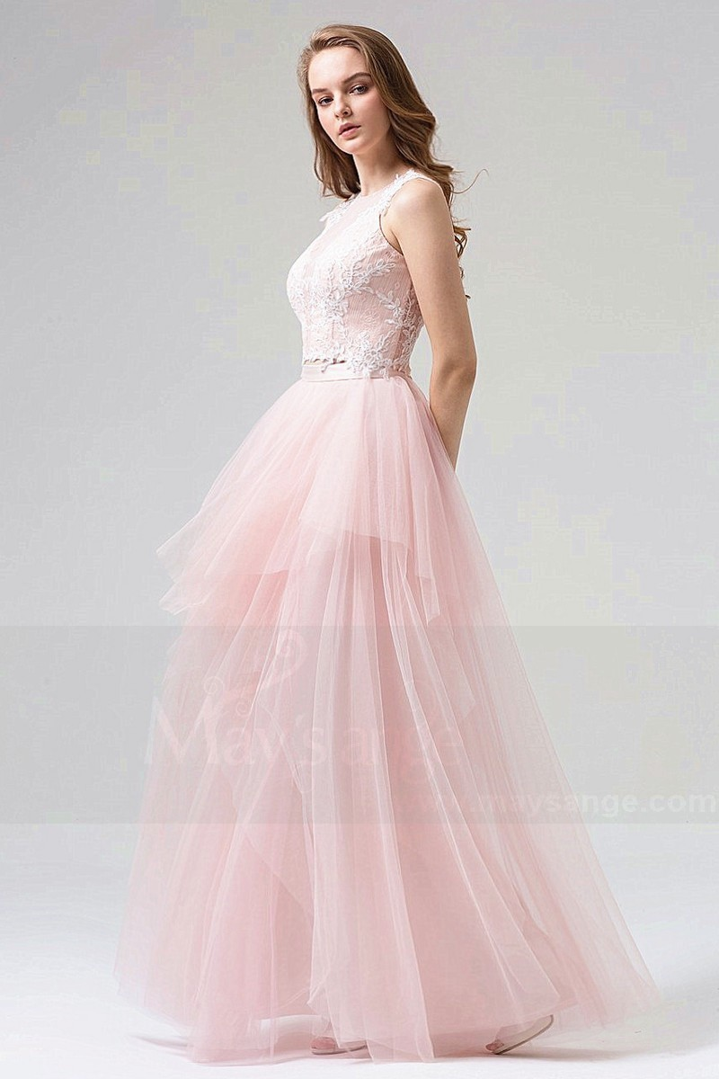 Chic Pink Lace Bal Gown Dress In Two Pieces - Ref L815 - 01