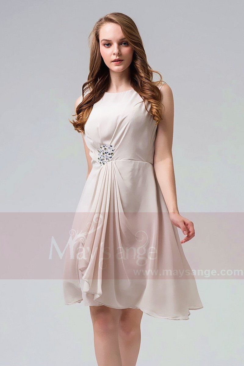0bcb2d13e08 Short Chiffon A-Line Homecoming Dress With Pearls - Ref C060 Promo - 01