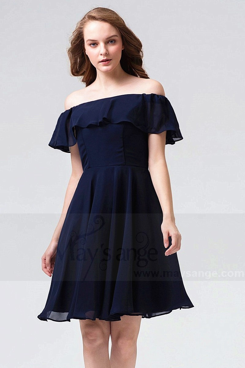 f6a23ede0a35 Short Off-The-Shoulder Navy Blue Party Dress With Flounce - Ref C864 -