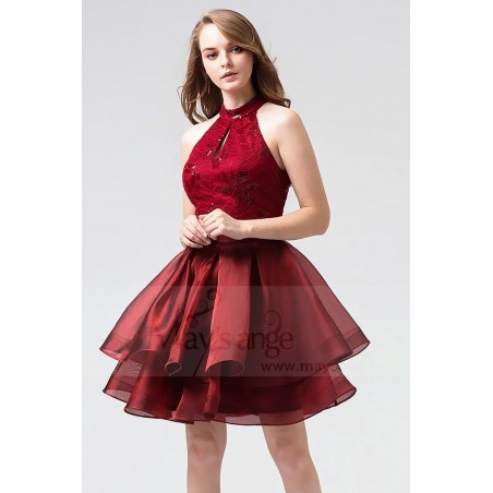 Robe Cocktail Rouge Bordeaux En Dentelle A Motif Paillettes En forme de Feuille - Ref C866 - 03