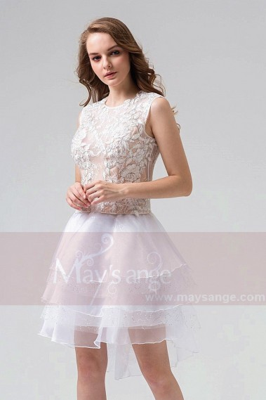 2018 Cocktail Dresses - Two-Pieces Short Party Dress With Embroidered Top - C858 #1