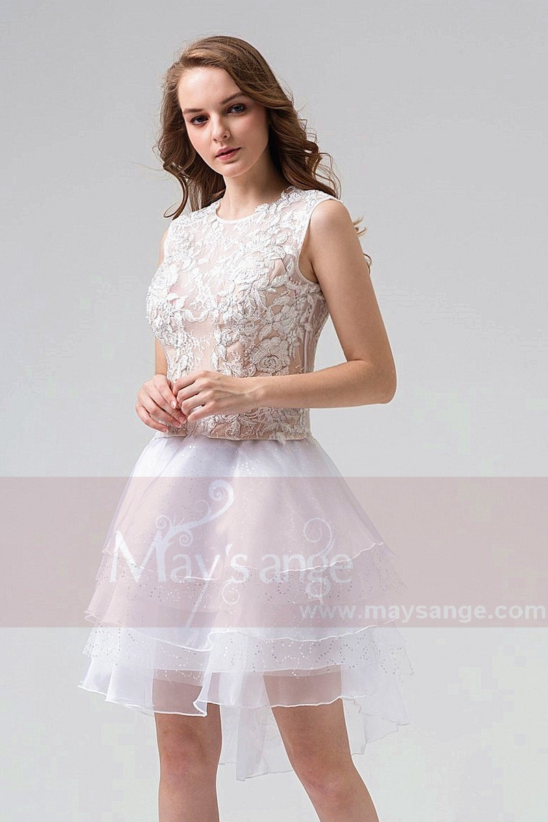 Two-Pieces Short Party Dress With Embroidered Top - Ref C858 - 01