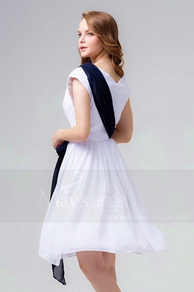 Cheap cocktail dress - White V-Neck Short Party Dress With Amovible Blue Belt - C863 #1