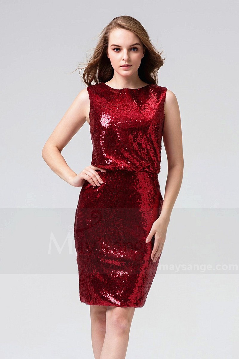 Burgundy Red Short Sequin Wedding Guest Dress