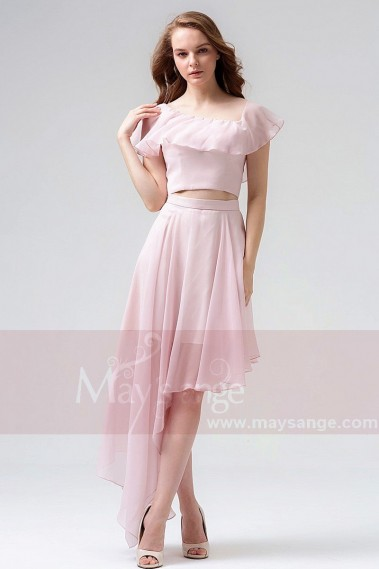 Robes de cocktail 2018 - Robe de cocktail courte rose en mousseline a découpe asymétrique Maysange - C857 #1