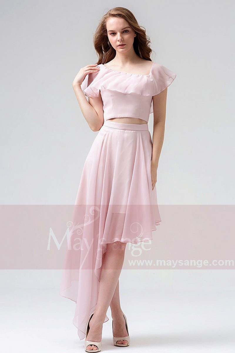 Chiffon Two-Pieces Pink Homecoming Dress - Ref C857 - 01
