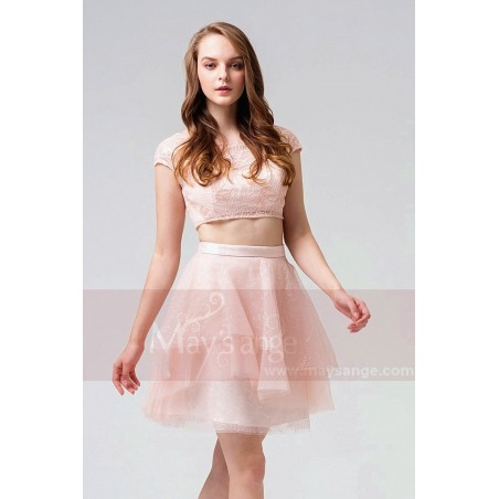 robe cocktail rose courte sexy dentelle style star indien MAYSANGE - Ref C870 - 03