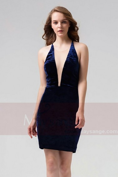 Blue cocktail dress - Short Velvet Open-Back Navy Blue Cocktail Dress - C859 #1