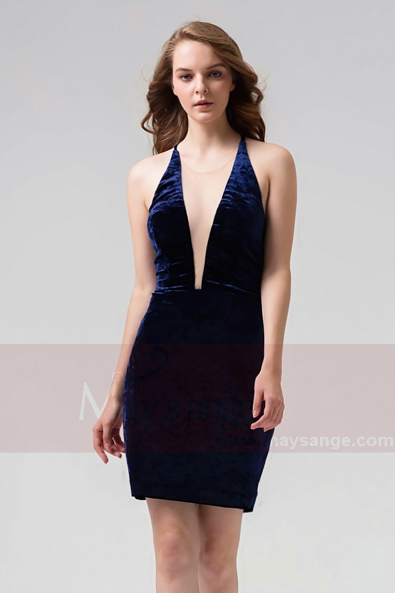 9056be44eae Robe bleue Marine Cocktail En Velours Stretch Sexy Et Élégante Dos Nu - Ref  C859 -