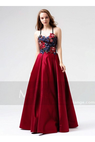 Red evening dress - Beautiful Two-Piece Burgundy Long Dress for Woman With Embroidered Bustier - L817 #1