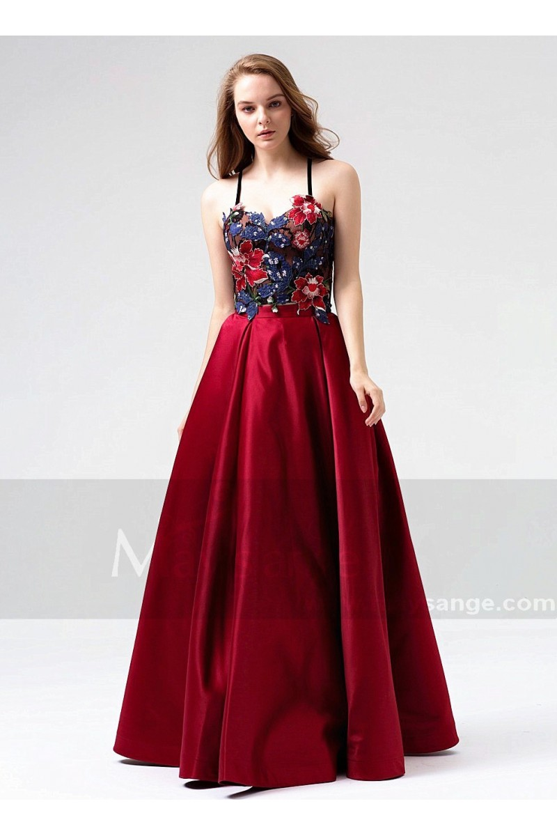 0a1e861d419cf Beautiful Two-Piece Burgundy Long Dress for Woman With Embroidered Bustier