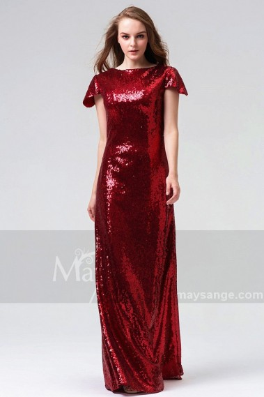 Red evening dress - BURGUNDY LONG EVENING DRESS SEQUINED FABRIC WITH SHORT SLEEVES - L826 #1