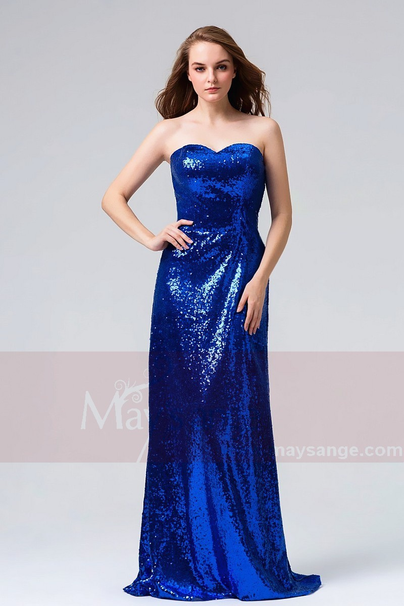 robe de soir e longue bustier bleu roi paille tr s habille pour mariage gala ref l825 robes. Black Bedroom Furniture Sets. Home Design Ideas