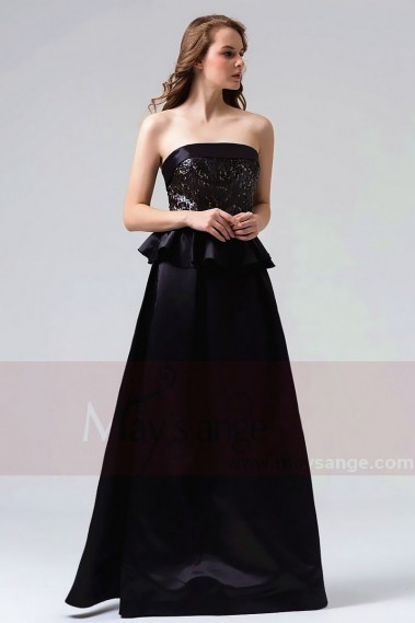 Black evening dress - robe soirée long noire  L822 - L822 #1