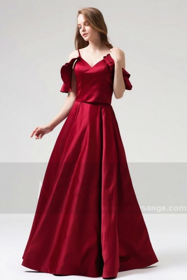 Red evening dress - Burgundy Evening Ball Gown Dresses Falling Sleeves And Straps - L820 #1