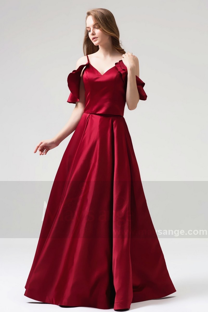 733911886d07 Burgundy Evening Ball Gown Dresses Falling Sleeves And Straps - Ref L820 -  01