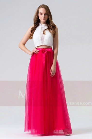 Pink evening dress - TWO PIECES BICOLOR LONG DRESS FOR WEDDING CEREMONY - L830 #1